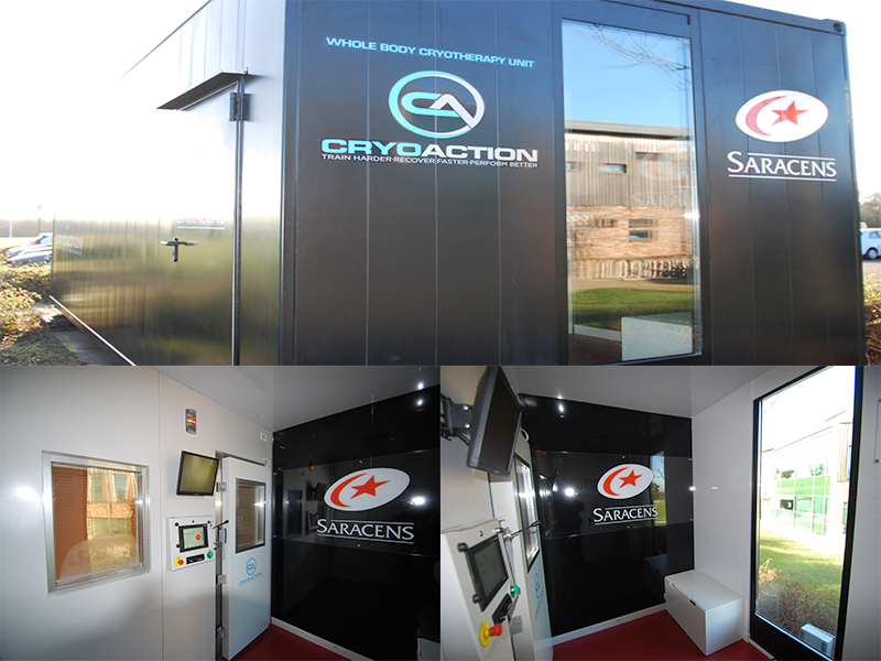 Saracens give players a CryoAction cryotherapy chamber as early Christmas present.