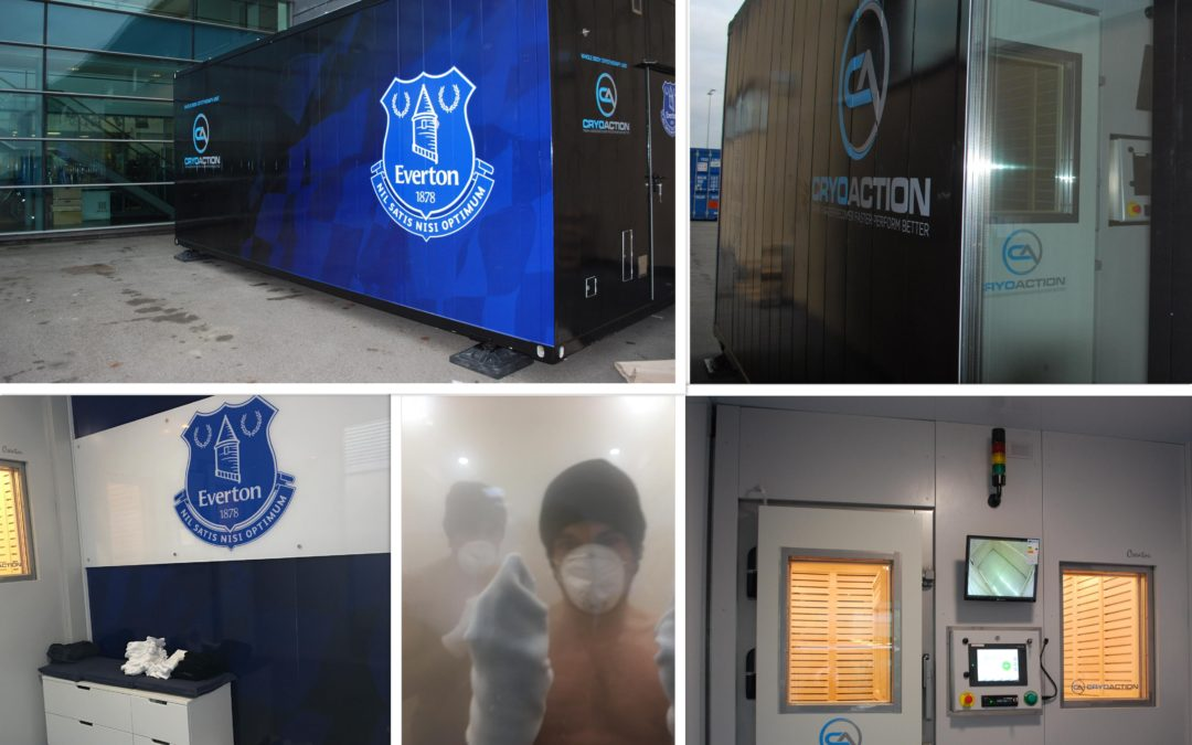 Everton Football Club take delivery of new whole body cryotherapy chamber from CryoAction