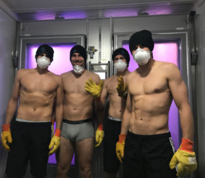 Wales international team entering cryotherapy chamber