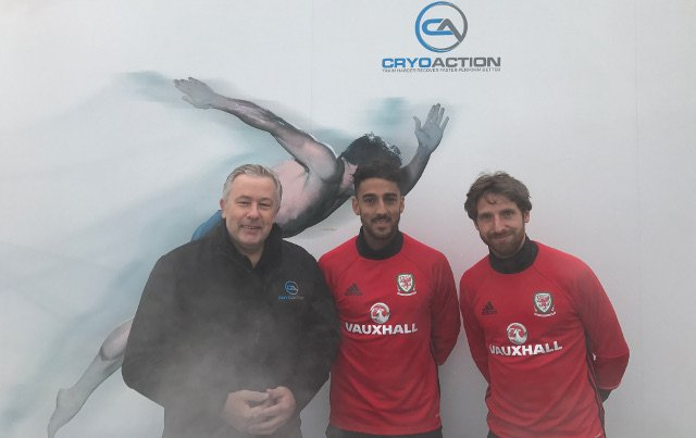 The Wales international team, outside their cryotherapy chamber.